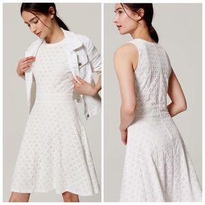 LOFT (Ann Taylor) All Over Eyelet Dress White SZ 6